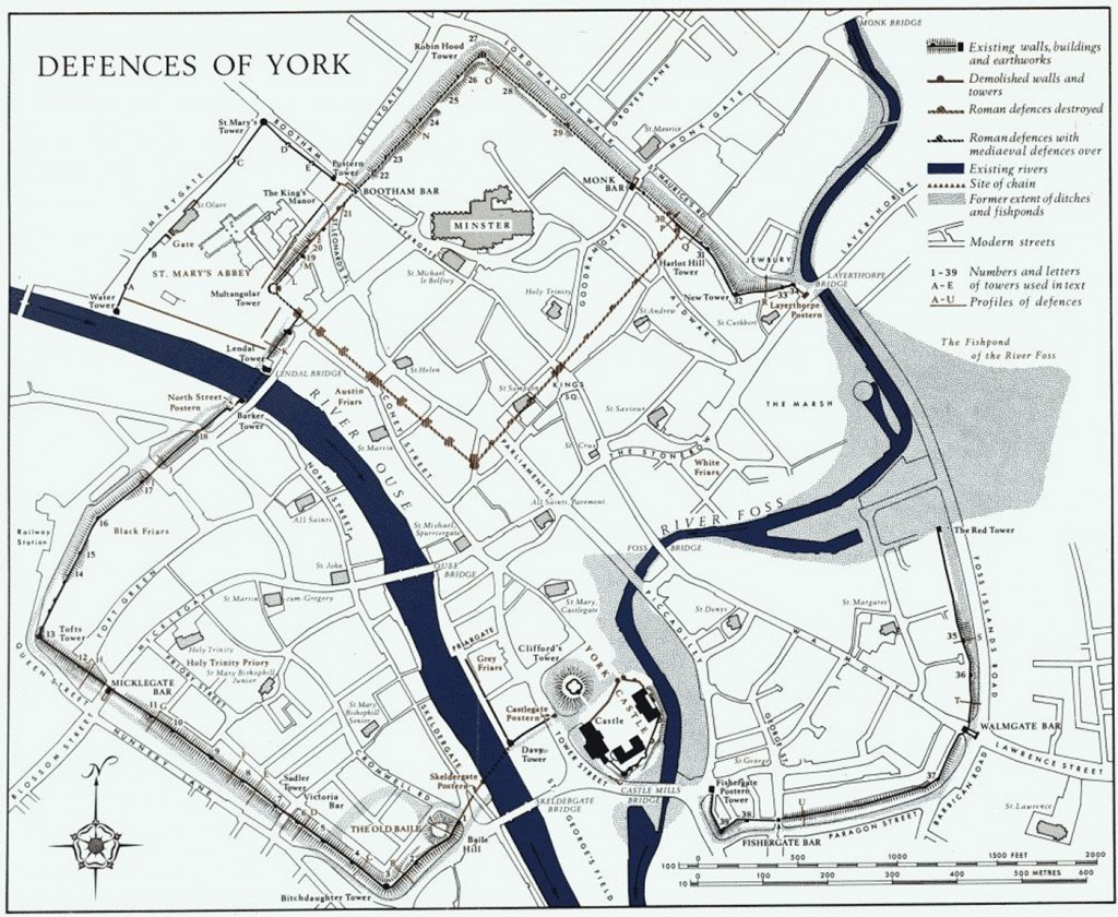 From Historical Monuments in City of York, Volume 2, the Defences - Walls, Bars and Tower numbers.